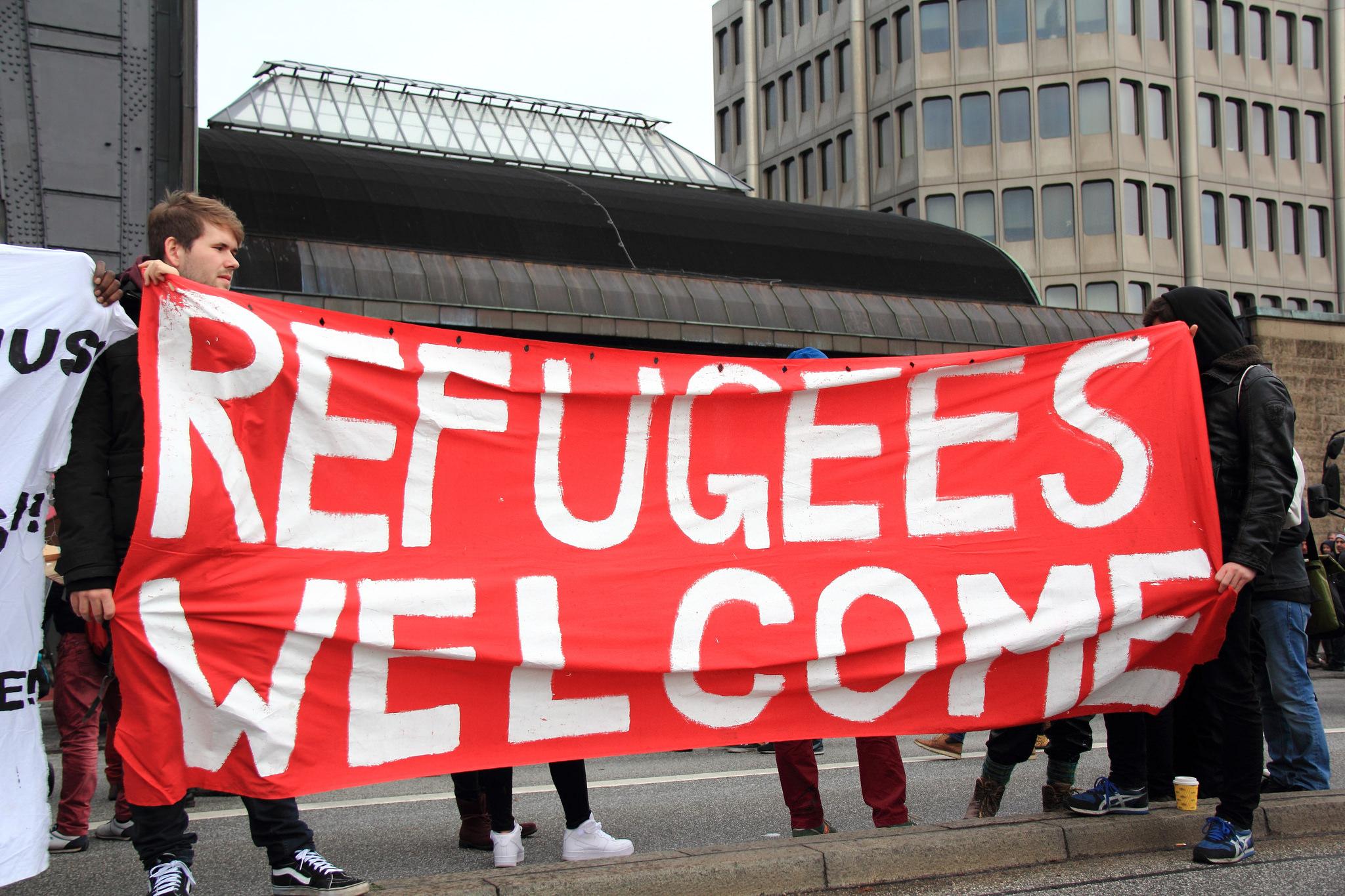 A demonstration on Nov. 14, 2015, in support of refugees in Hamburg, Germany. Credit:  Rasande Tyskar / Flickr