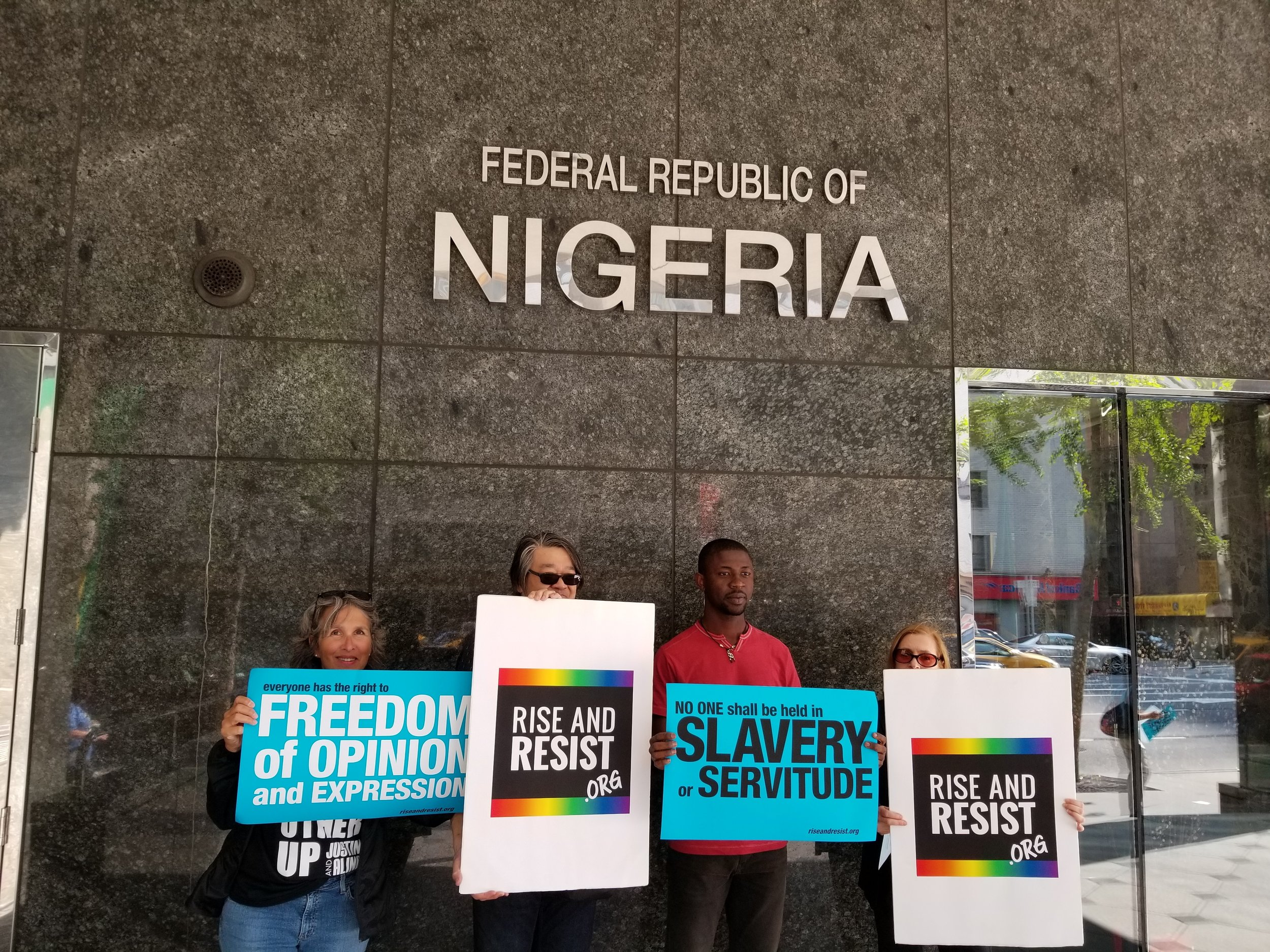 In front of the Nigerian embassy in New York, demanding the government to listen to the crises of the masses pleading for the end of jungle justice. Credit:Edafe Okporo