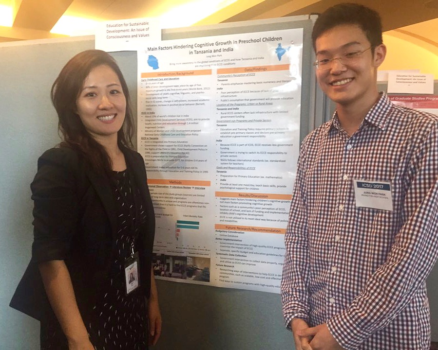 Jung Won with his research mentor Haein Shin at International Conference on Sustainable Development (IC-SD), Columbia University