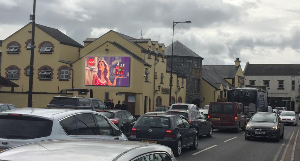 Walsh's Hotel, Coleraine Road, Mahgera. 5m x 3m 10mm pixel pitch digital billboard.