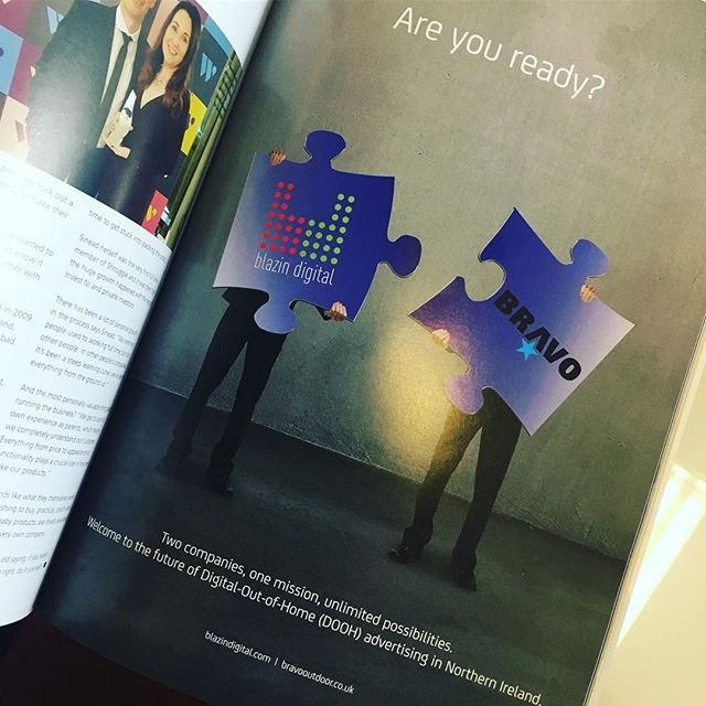 Our most recent ad in Ulster Business. Two companies, one mission, unlimited possibilities. #blazindigital #bravo #bravooutdoor #standout #dooh #itswhatwedooh #ulsterbusiness #ulsterbusinessmagazine