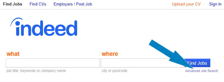 Indeed's home page