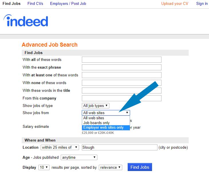 Indeed's Advanced Job Search