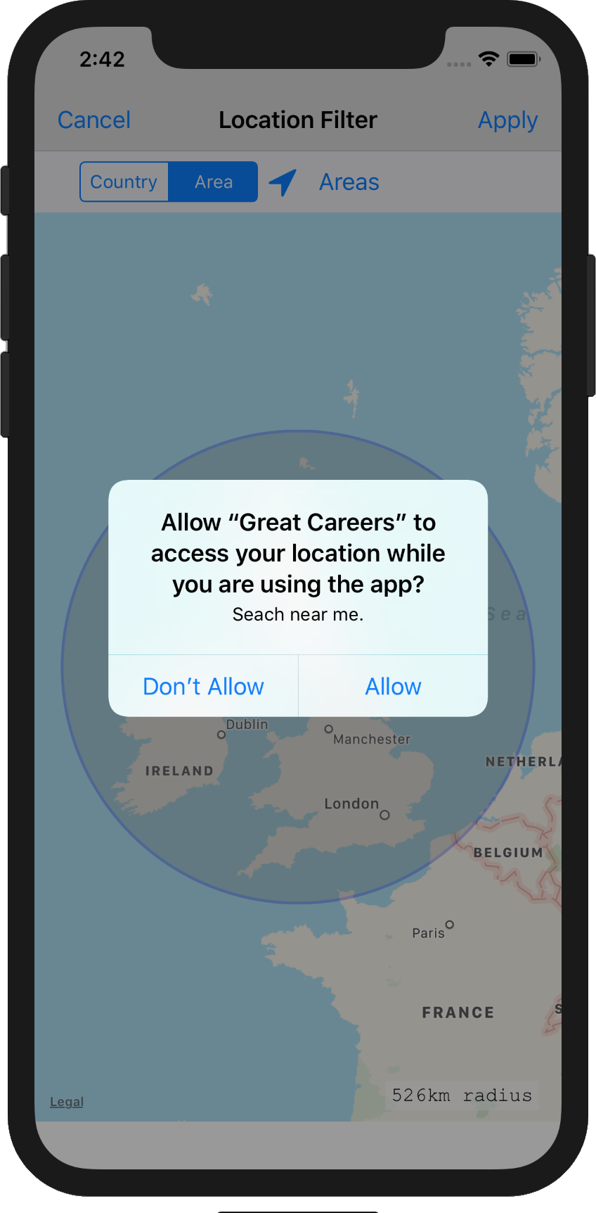 Great Careers - Location Permissions