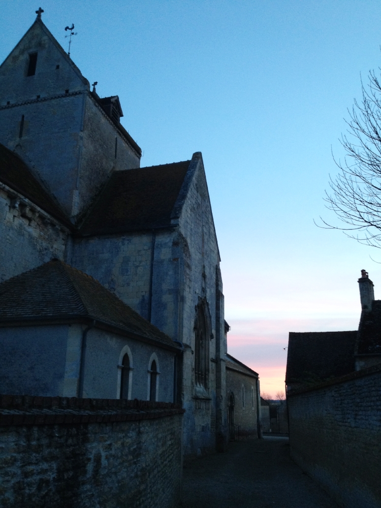 Sunset behind the Jort Church, where live&acoustic versions of a few songs were recorded  (bonus tracks on the România Album)