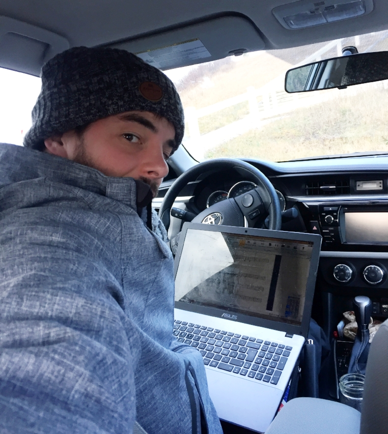 Even in the automobile, the use of the winter hat is recommended. A Icelandic  Zo-on  if you're wondering...