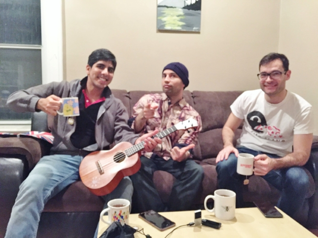 From left to right, Adi, Augustin and Canadian Ben ! The smiling guests of the Toronto Podcast