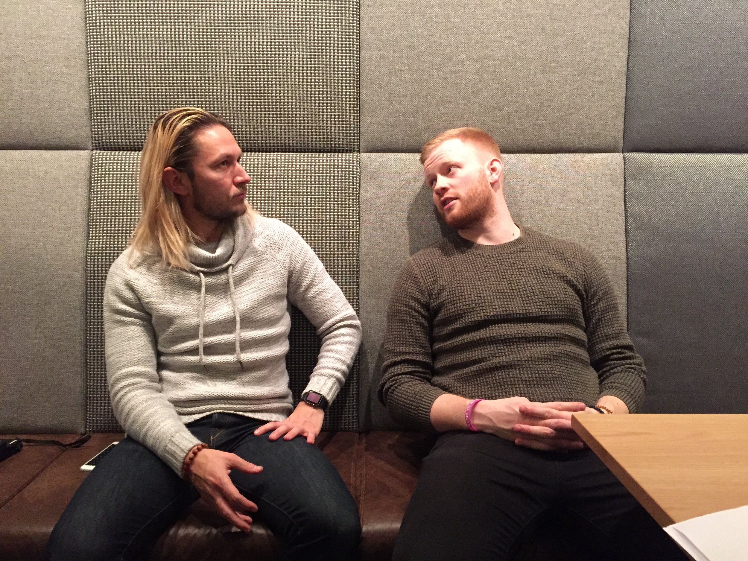 Pictured, two cool local Vikings mid-conversation. Ásgeir on the left an Hjalti on the right