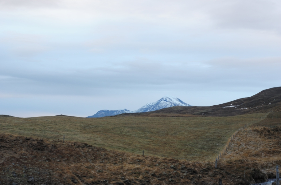 A view from onto now peaceful (probably because it's Winter) peaks of Snæfellsnes