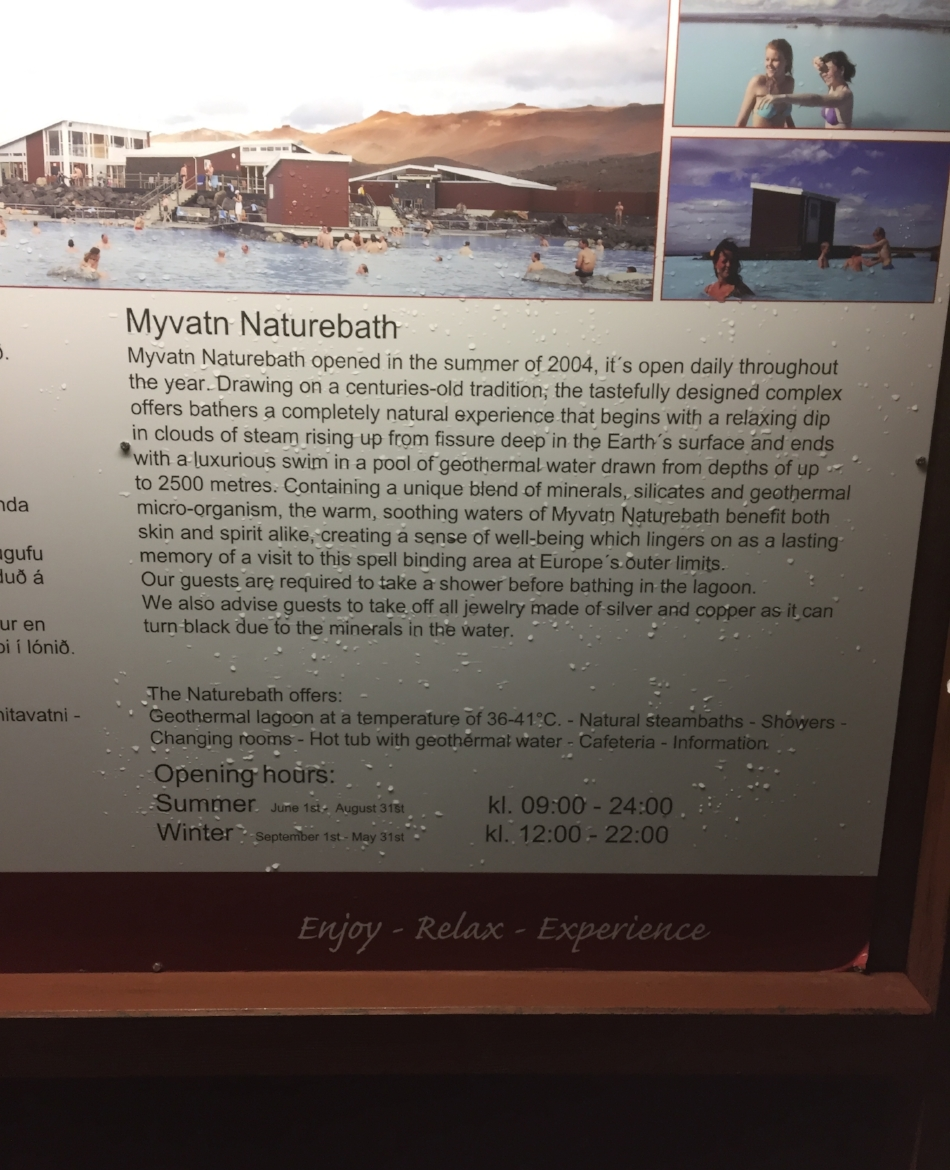 Finally useful information on this Blog ! The Mývatn Baths opening times. No mention of swimming trunks though. Turns out you need some.