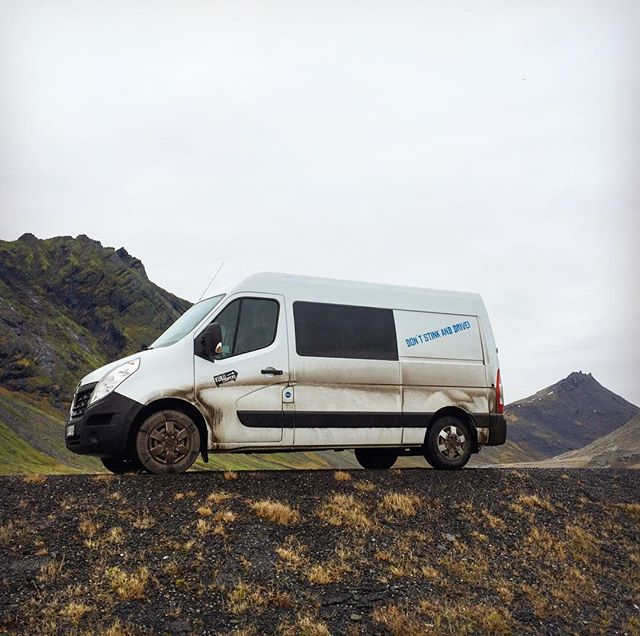 """Don't Stink and Drive"" quoteth the @kukucampers van #vantrip #ukulele #roadtrips #Iceland #adventure #goingnorth"