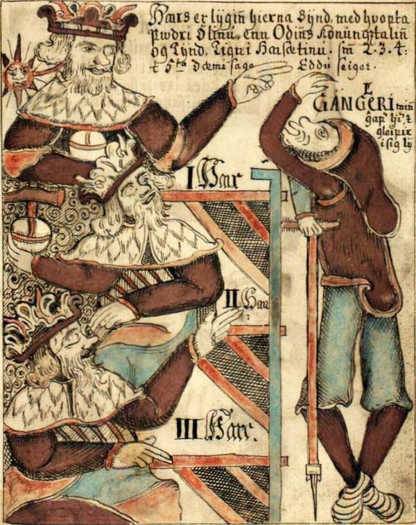 High,Just-As-High, & Third ( Hár,Jafnhár, & Þriði ) and Gangleri, deep in conversation (Icelandic comic strip, XVIIIth c.)