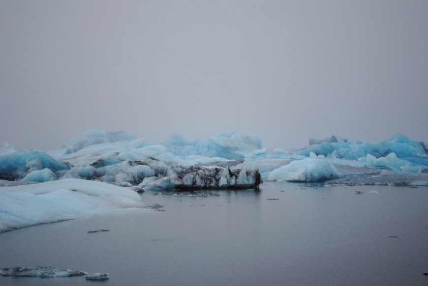 In the midst of a grey trip, the colours of  Jökulsárlón  stand out