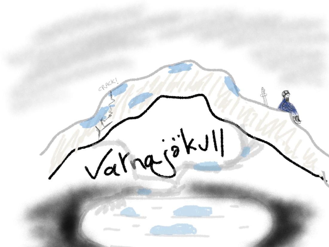 Photograph of the Vatnajökull and lagoon, circa 1947, colourised (joke)
