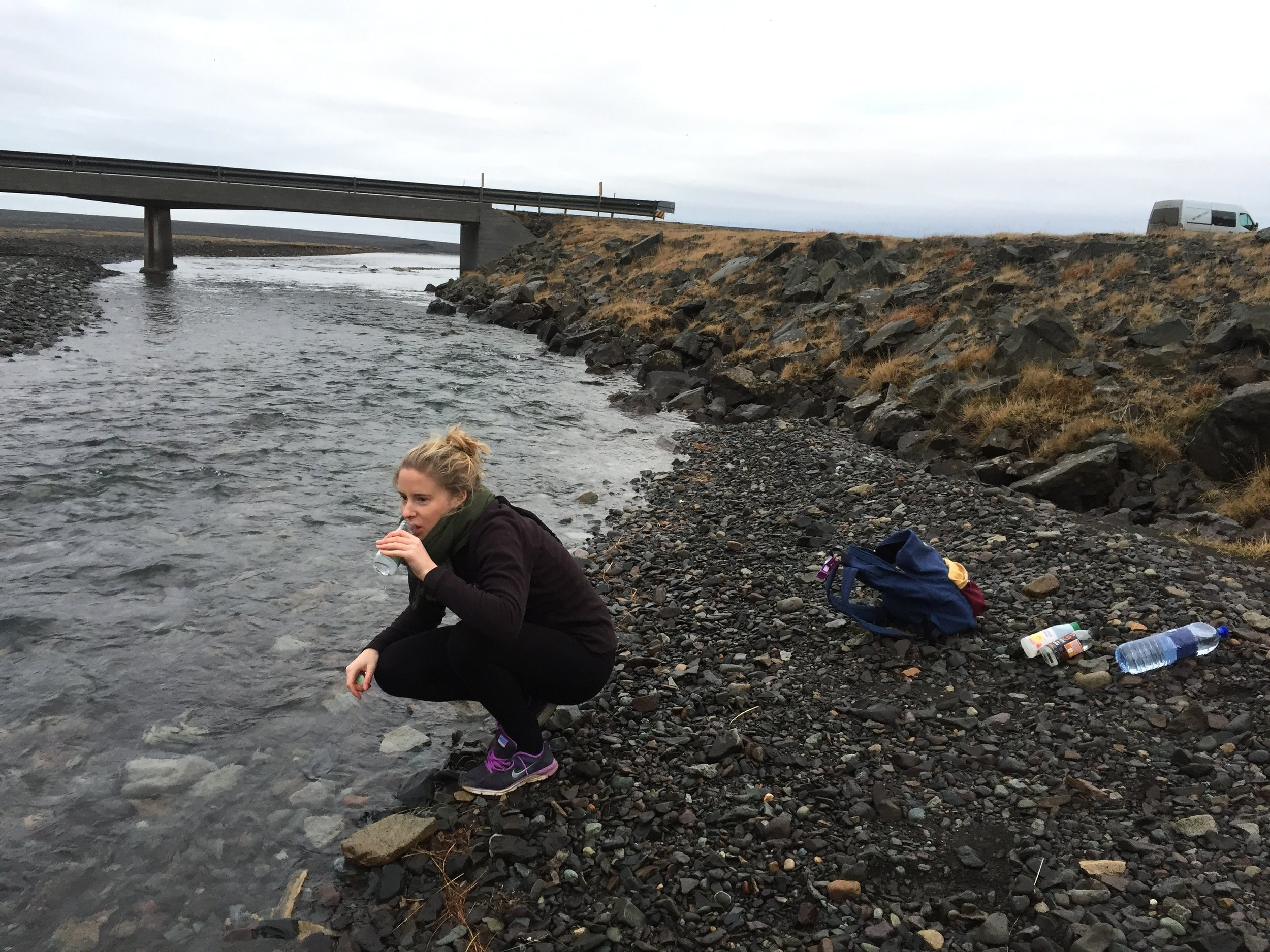 Pictured: left: a bridge and a bit of fresh-water, middle: co-pilot and occasional camerawoman of the Icelandic adventure, top-right: the trusted steed and studio-kitchen, the Renault Master Kuku Camper Van