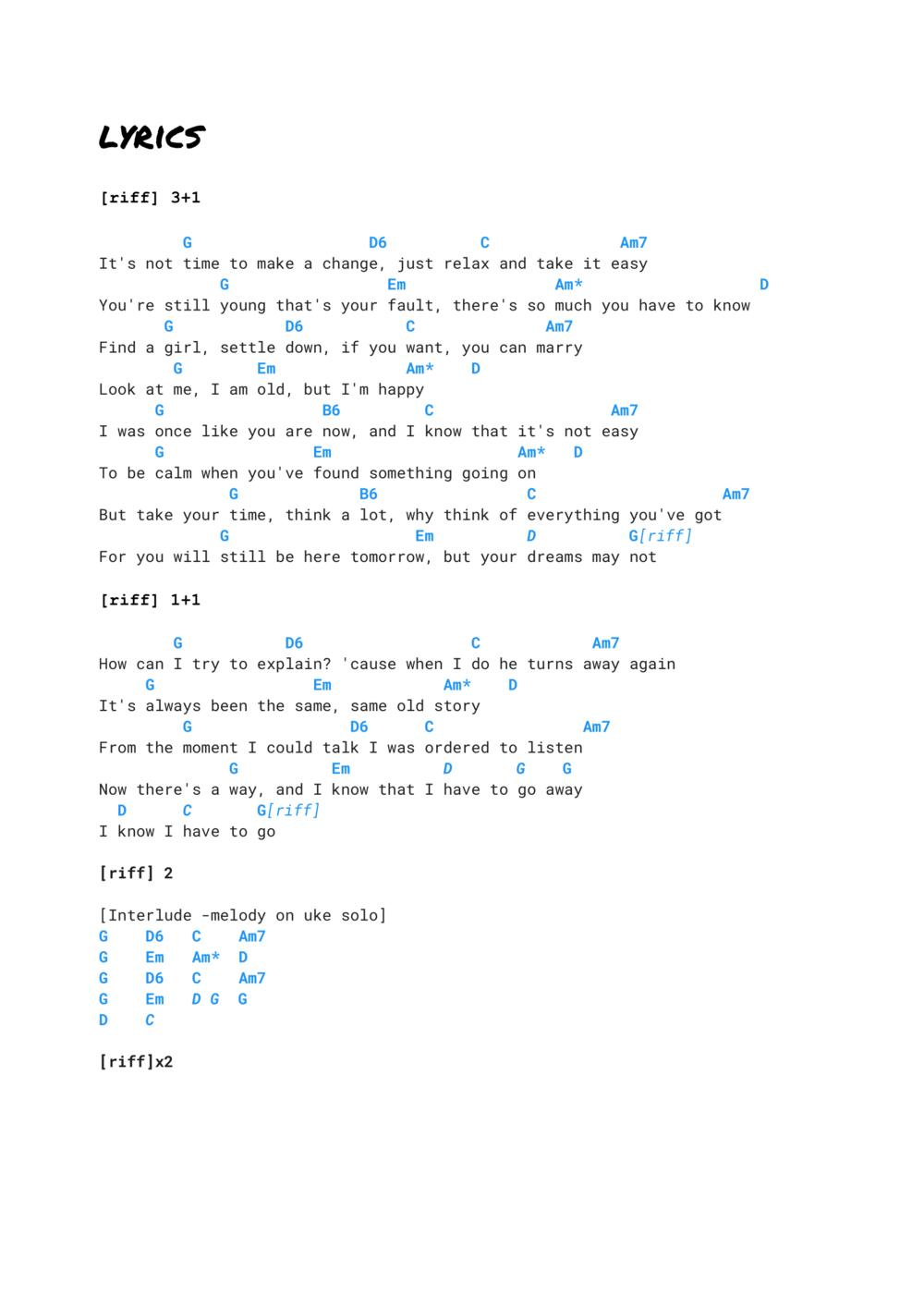Father and Son   ukulele tabs & tutorial   Cat Stevens — Ukulele ...
