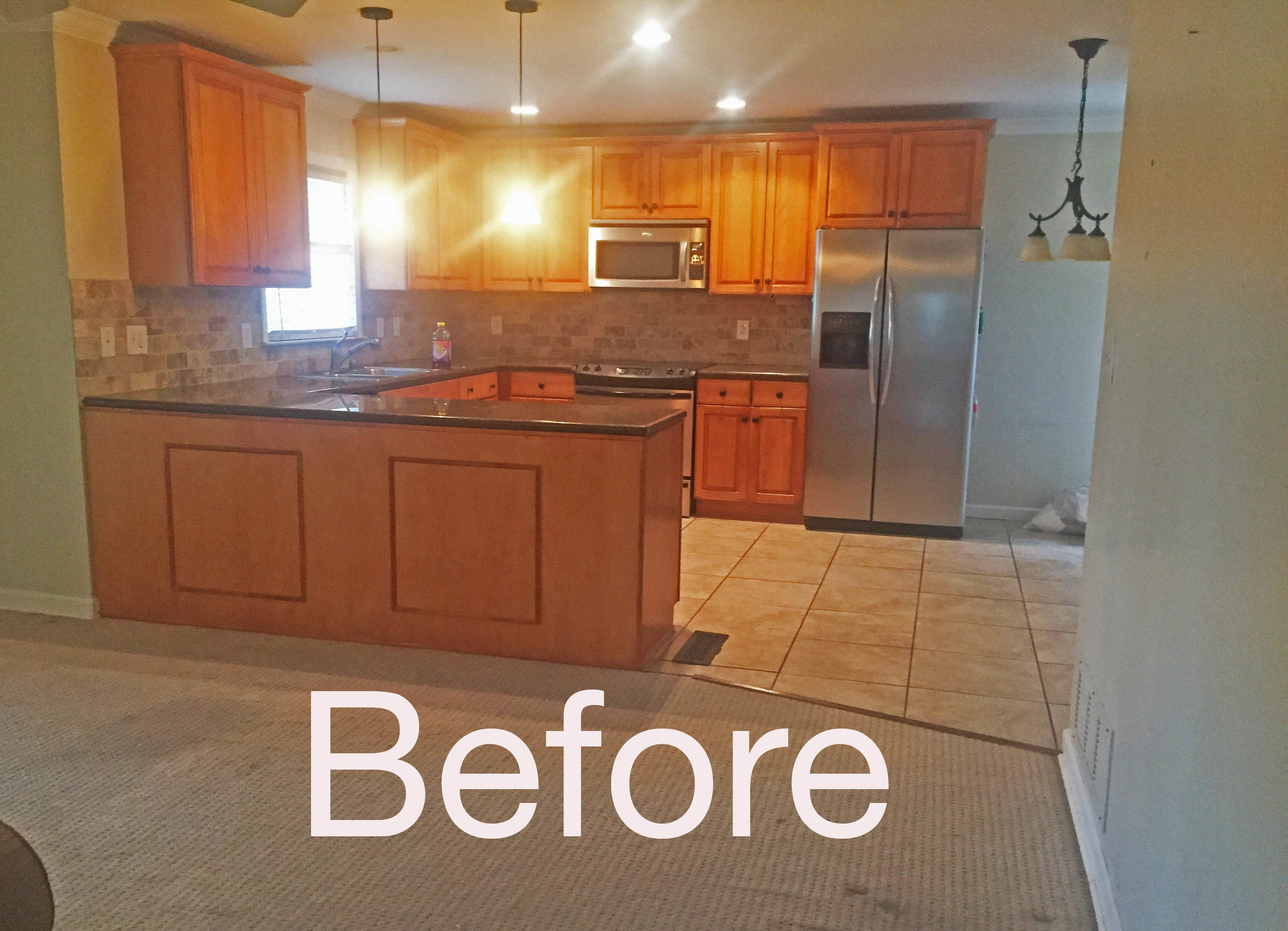 The kitchen will be totally redone.  The flooring will be replaced with hardwood to match the rest of the home.  Lighting will also be added.