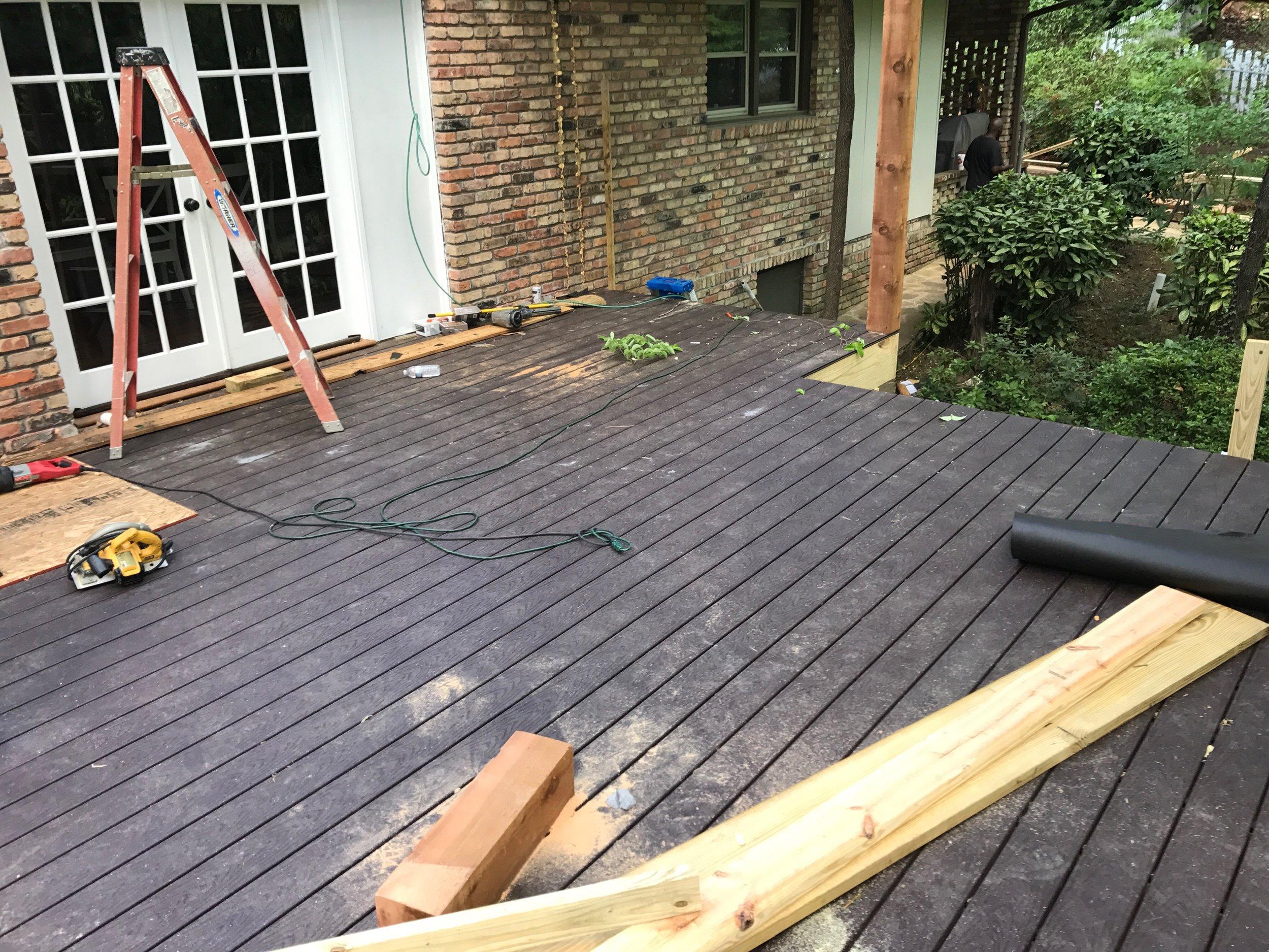 Trex decking on floor.