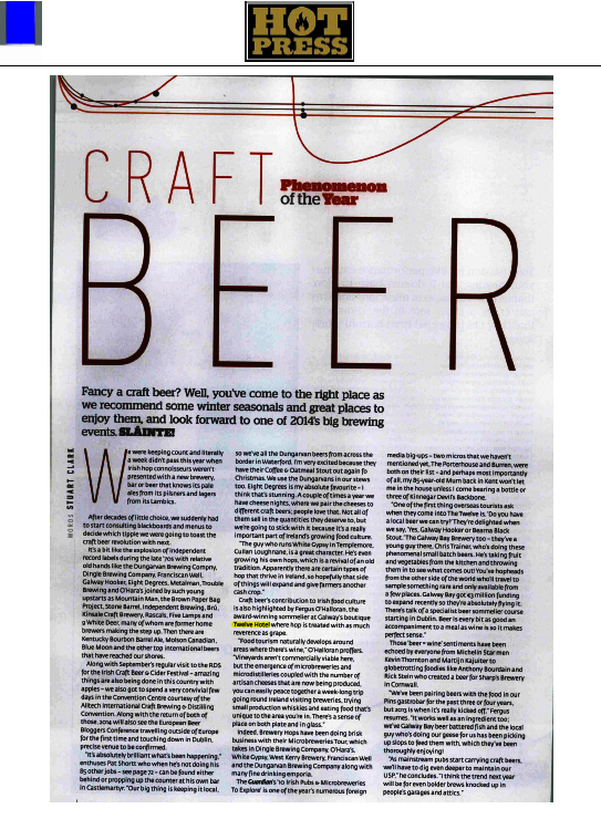 Hotpress and craft beer at The Twelve