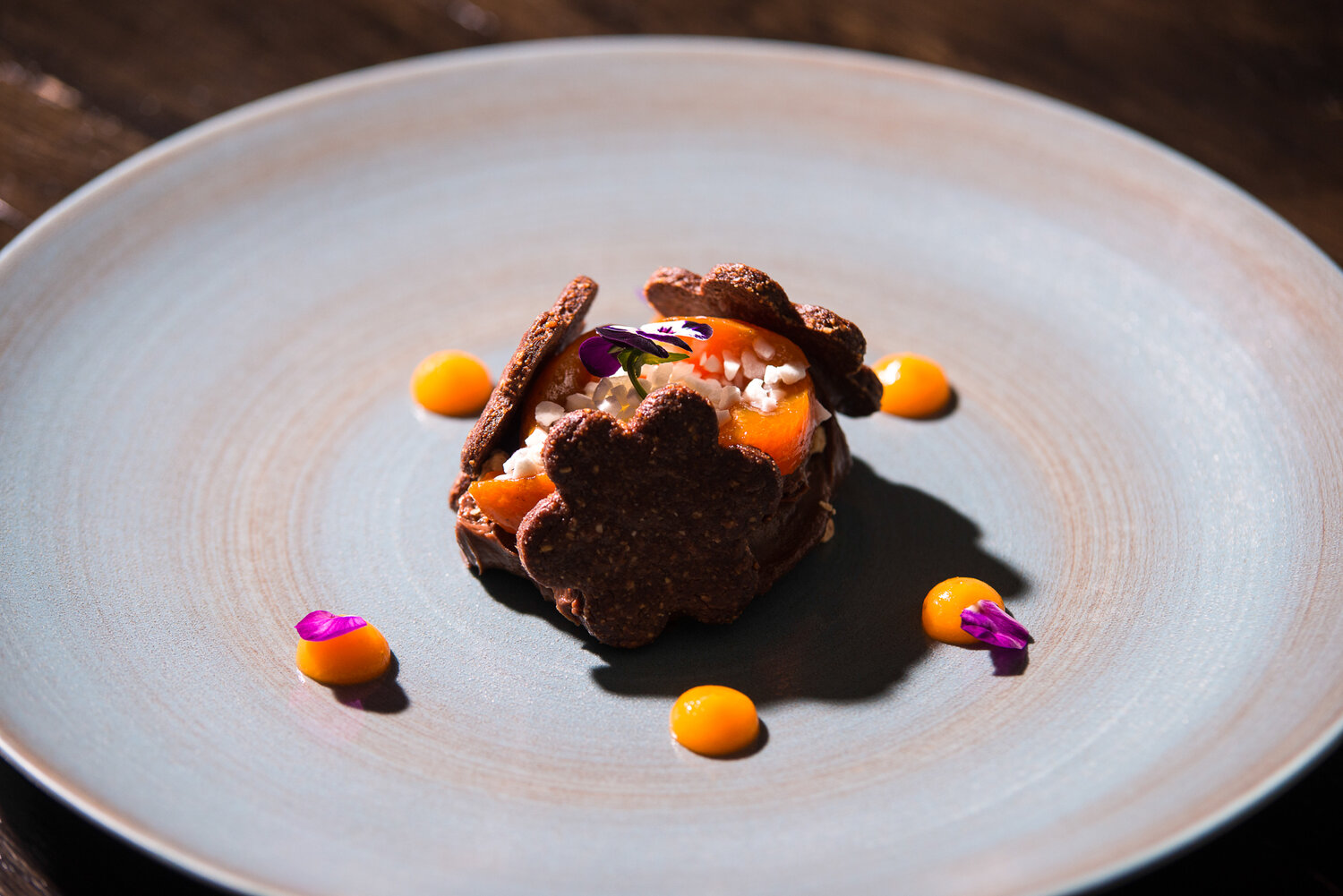 smoked chocolate creamux with pate sucre and clementine , seasonal.jpg