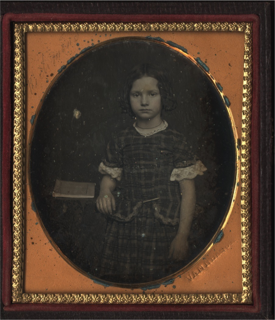 Unidentified Girl [Mary Mildred Botts Williams]. Daguerreotype by Julian Vannerson, 1855. Visible Oval Image 7 x 6 cm, sixth plate, in case, 9 1/2 x 8 cm. Photograph 1.256, Massachusetts Historical Society.