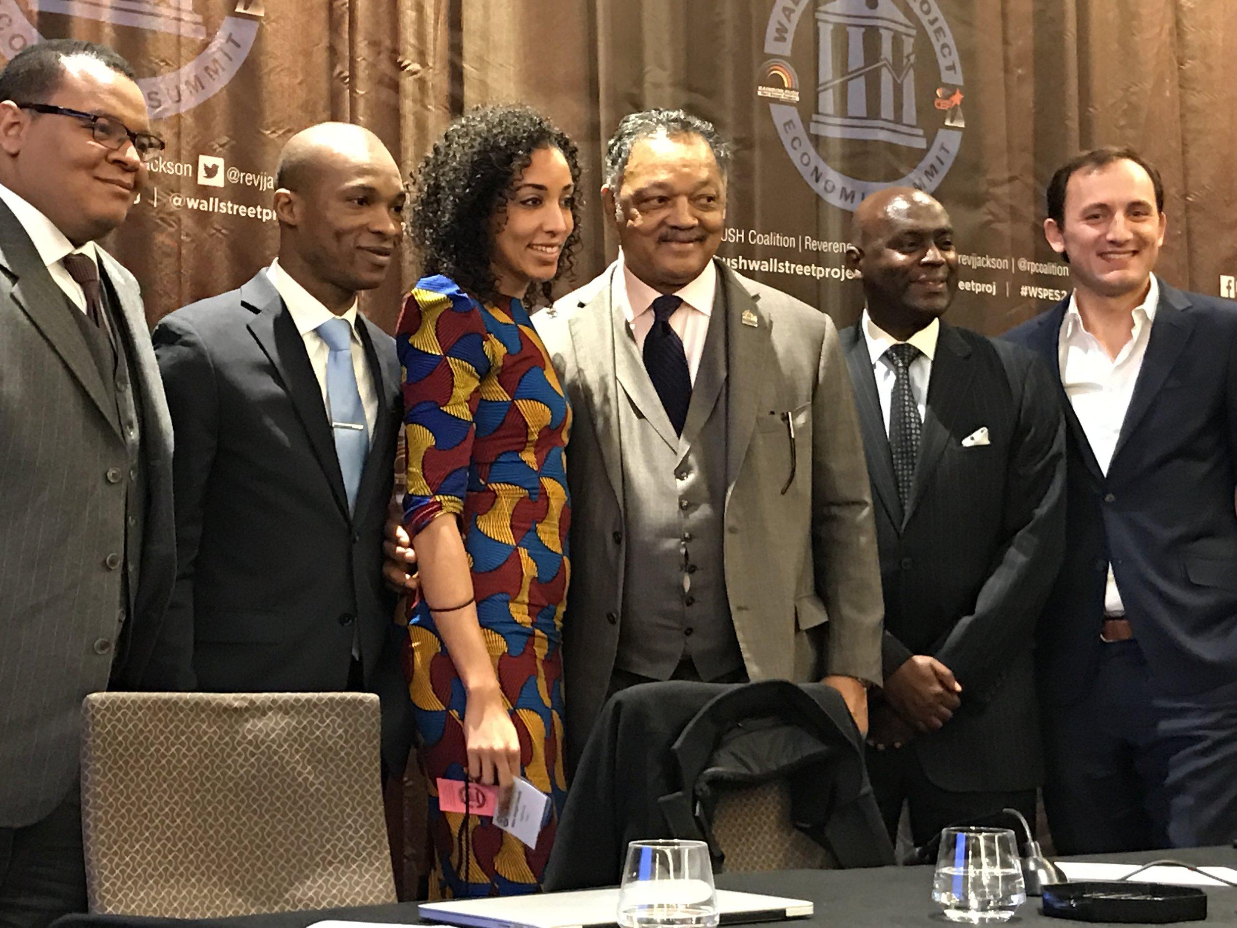 From the Left: Mr. Sulaiman Damazio, Director, Diasporah Development – Brazil || Mr. Serge L. Vallet, CEO, EnovativeTV || Mrs. Maya H. Famodu - Founder | Ecosystem Architect |Ingressive  || Reverend Jesse L Jackson, Sr., President & Founder, Rainbow PUSH Coalition ||Dr. Zweli Mkhize, Treasurer General, African National Congress - South Africa ||Mr.  Arben Kane , Managing Partner, Stacked Venture Builder & Dreamit Ventures