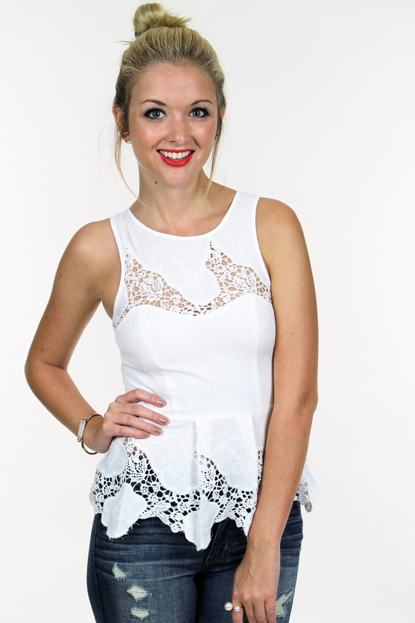 Snow White Peplum Top