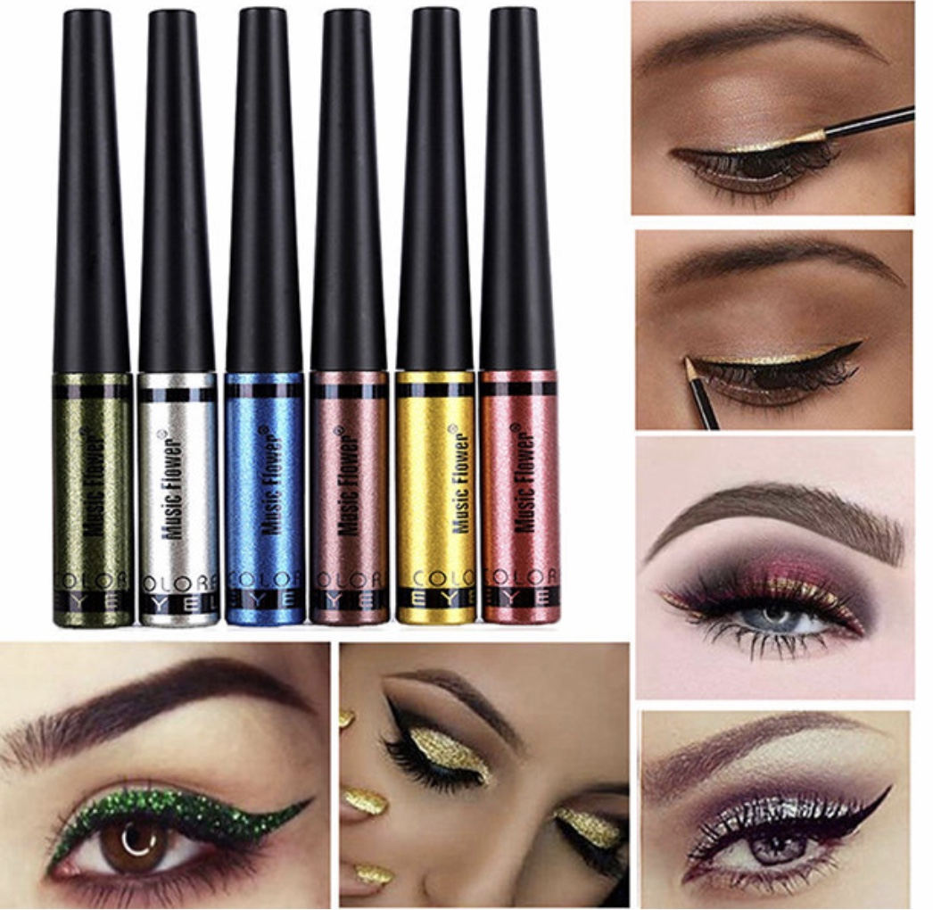 Music Flower Glitter Shine Liquid Eyeliner 6 Colors Waterproof Eyes Pencil Brighten Eye Liner Quick