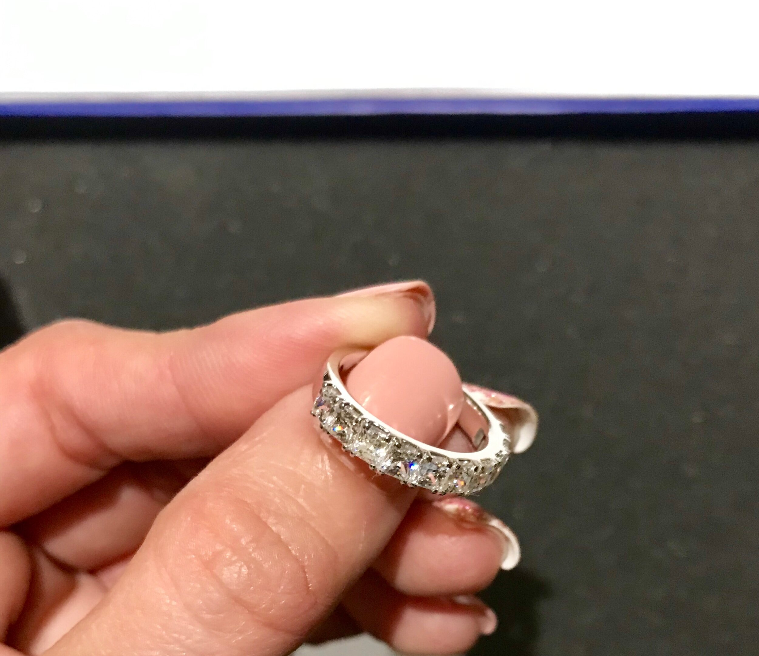 Four Prong Princess Cut Diamond Square Frame Ring In Gold Or Platinum