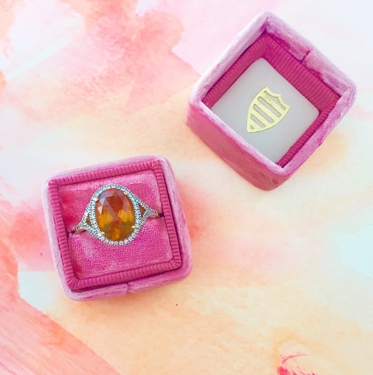 My ring is yellow gold, yellow citrine, and diamonds. It is unbelievably hard to capture the color in a picture! This one pretty much nails it.