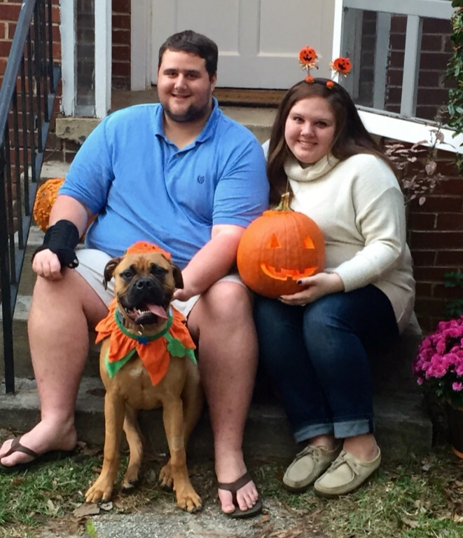 A Halloween family photo... this year's theme? Pumpkins.