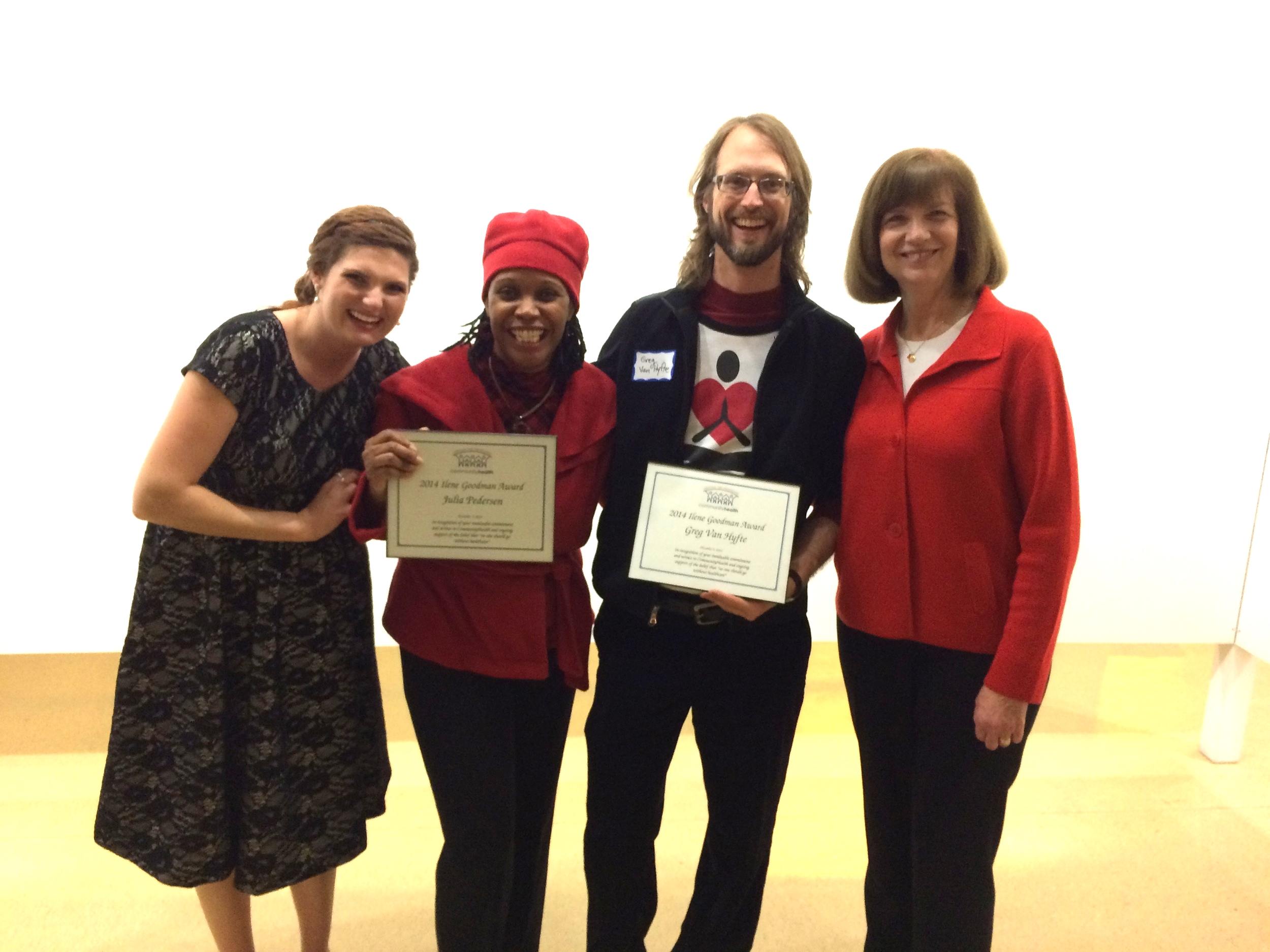 Pictured from left to right are CommunityHealth Heath Education Coordinator Adelle White, YogaCare Board Vice President Nubia Ptah, YogaCare Co-Founder Greg Van Hyfte, and CommunityHealth Executive Director Judy Haasis at the 2014 CommunityHealth Volunteer Party.
