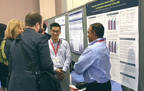 Chief Medical Officer, Girish Putcha (at right), and ML research engineer, Nathan Wan, presenting data at the American College of Gastroenterology meeting in Philadelphia.