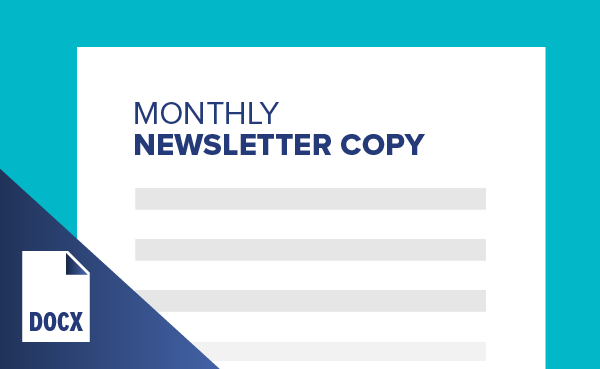 Monthly Newsletter Copy