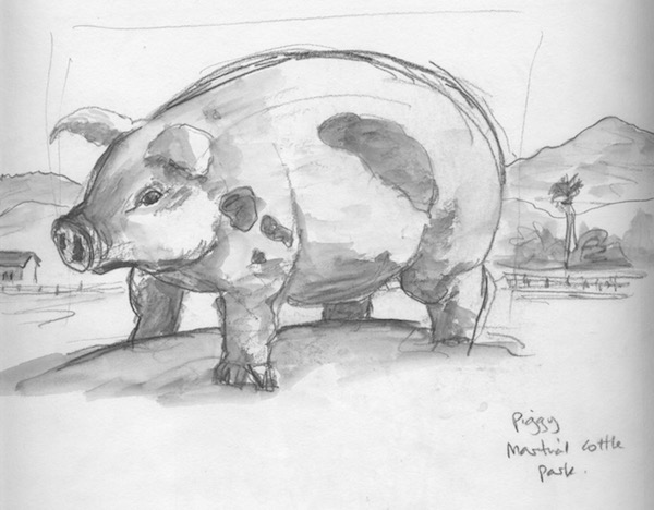This piggy was a little sit on sculpture in the children' park.  Playing with the scale of the landscape made him into a giant pig!