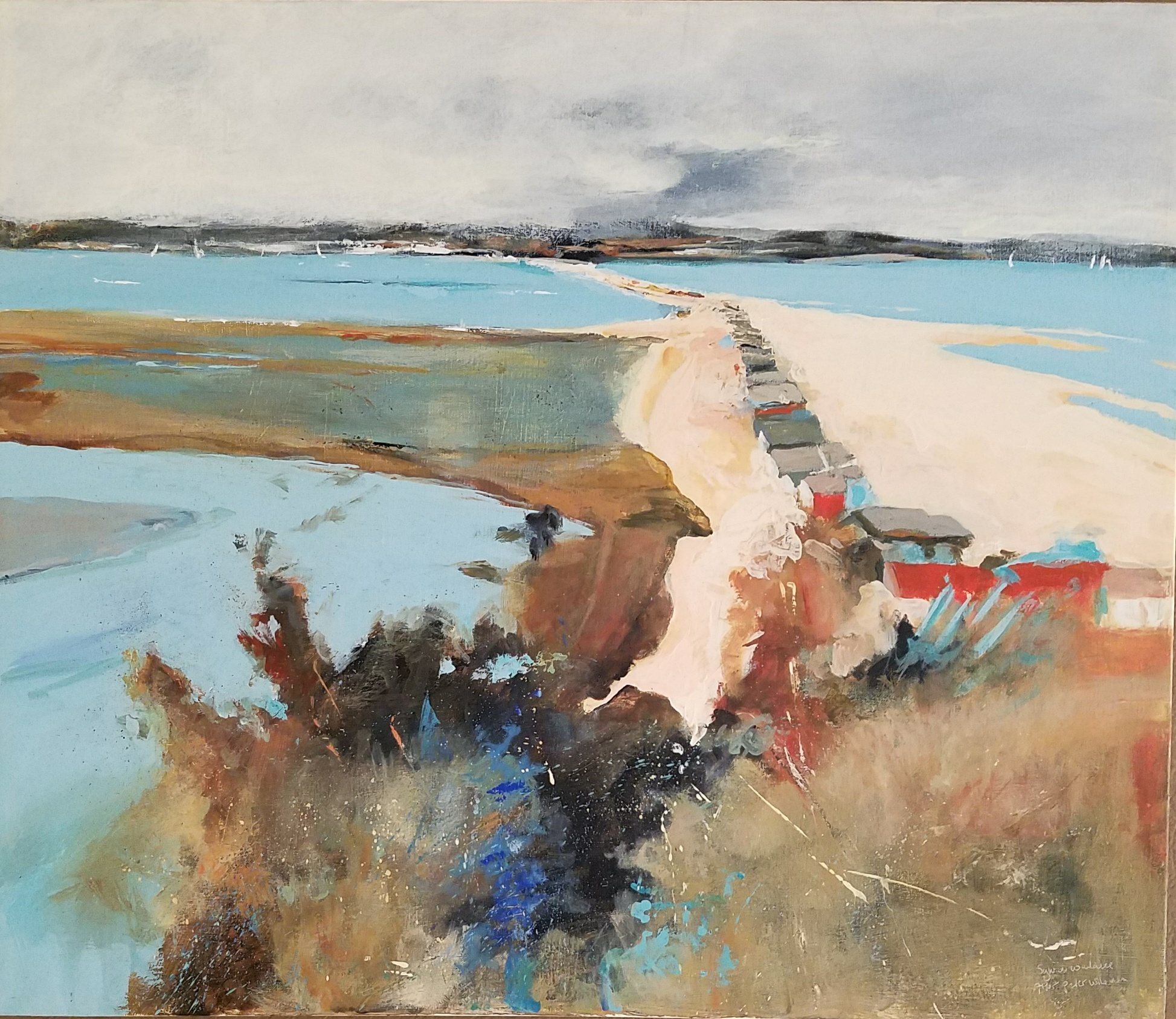 "My copy of Peter Wileman's ""Christchurch Harbour"" Acrylic on canvas 24 x 28 inches"