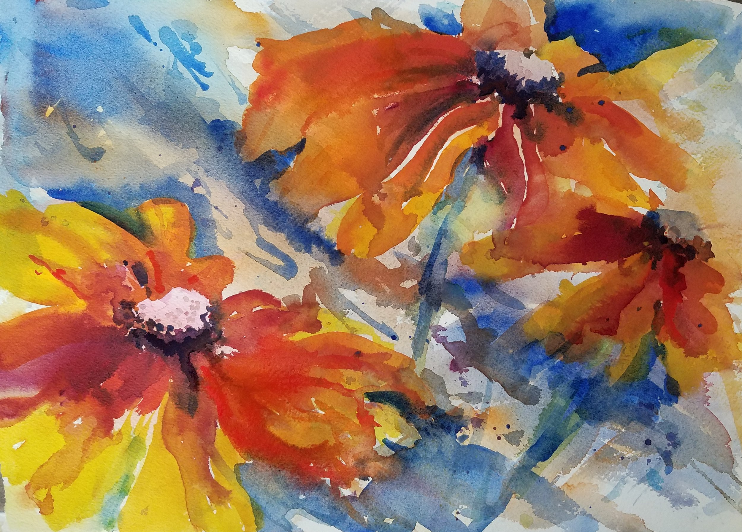 """Rudbeckia"" Watercolor 10 x 14 inches"