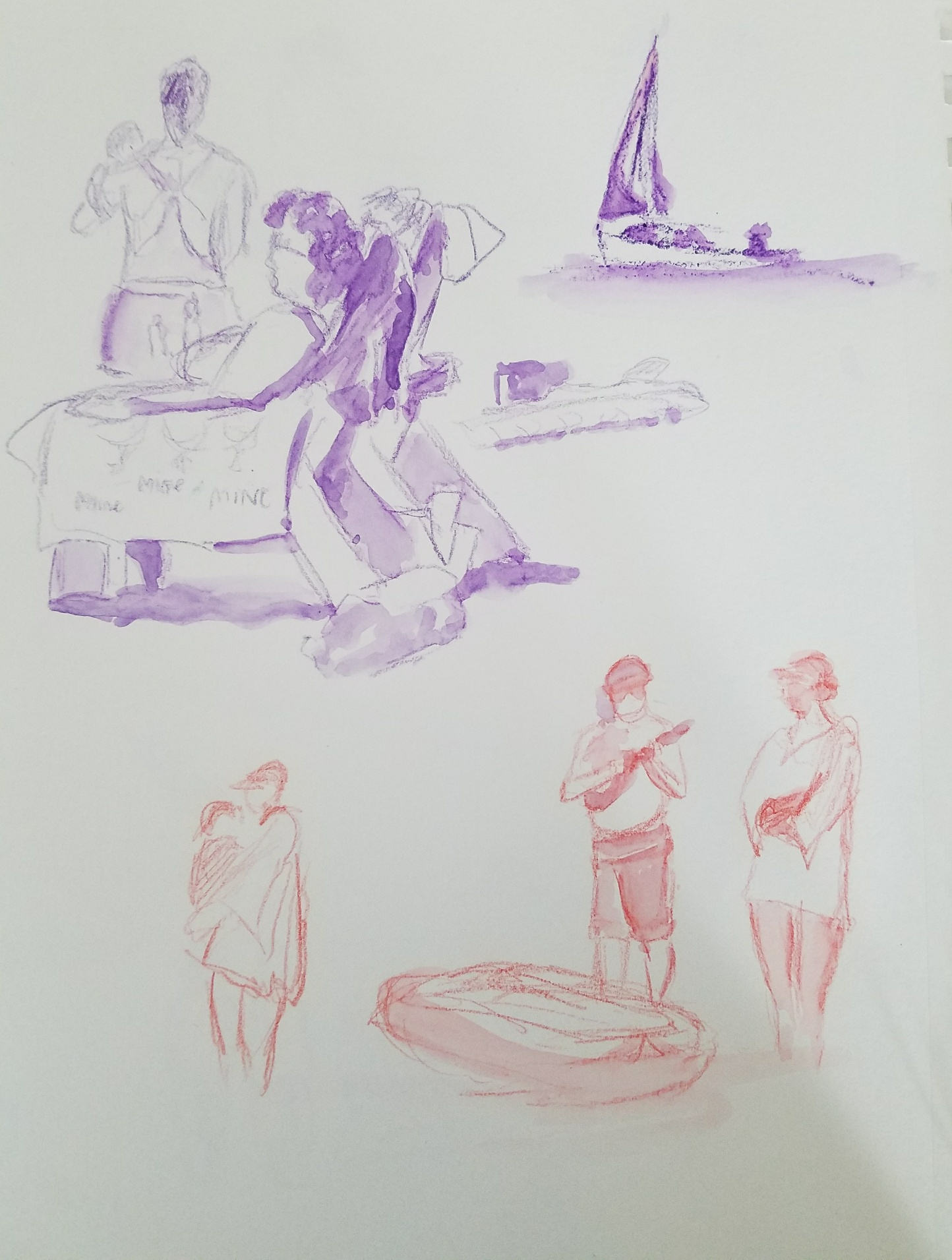 Some people sketches from the beach area
