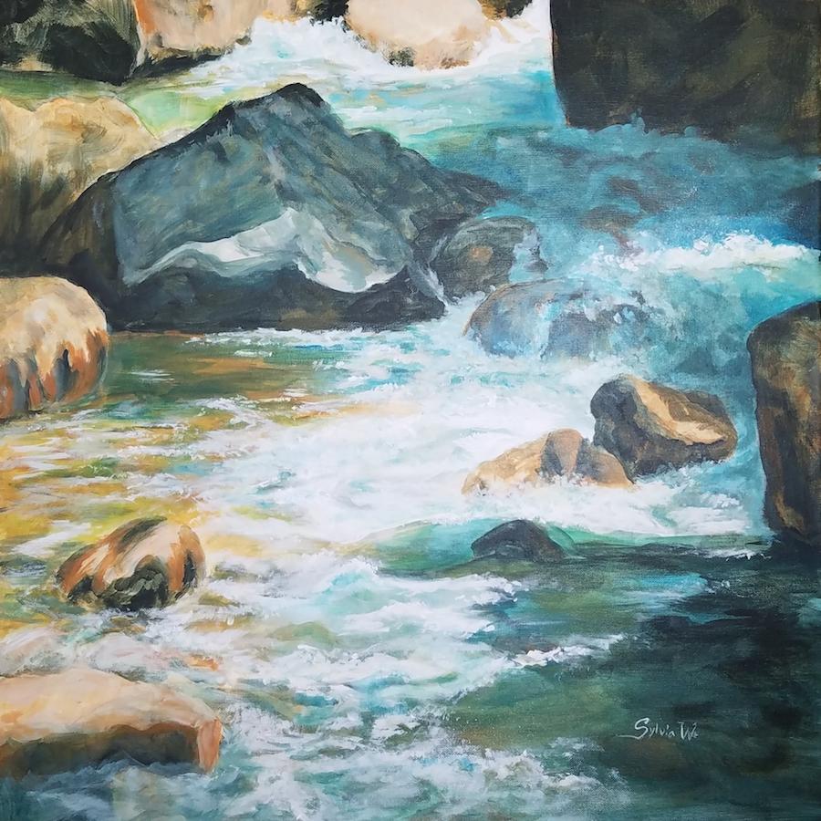 Merced River, Yosemite. 24 x 24 inches