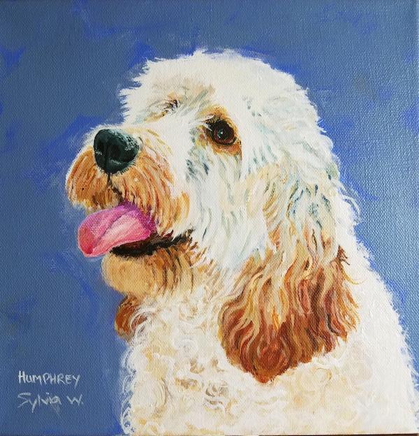 Portrait of Humphrey. Acrylic on canvas, 10 x 10 inches