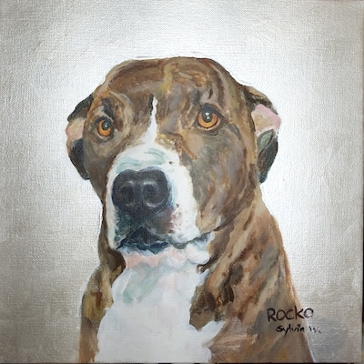 Portrait of Rocko. Acrylic on canvas, 10 x 10 inches