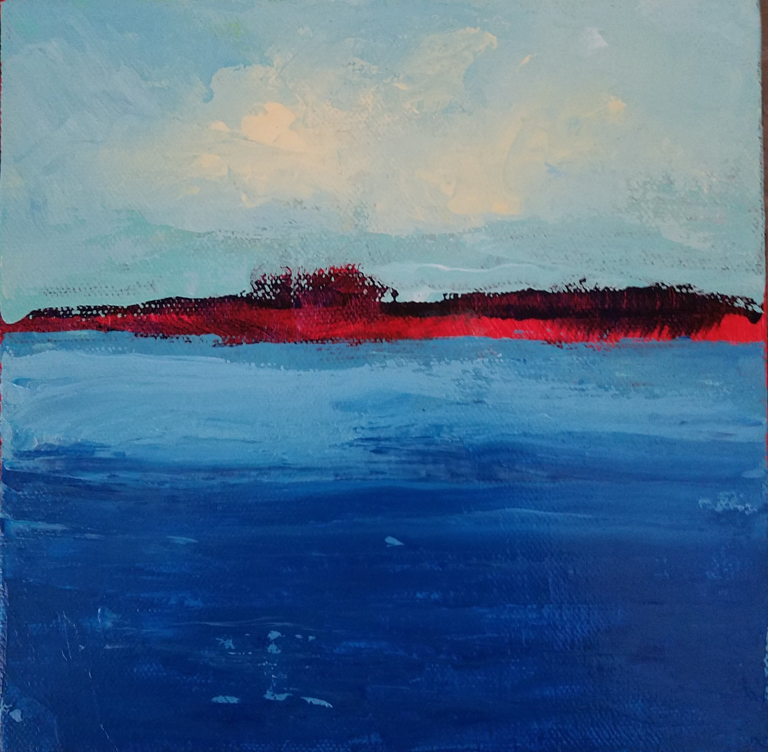 Island Abstract, Acrylic on Canvas, 8 x 8 inches