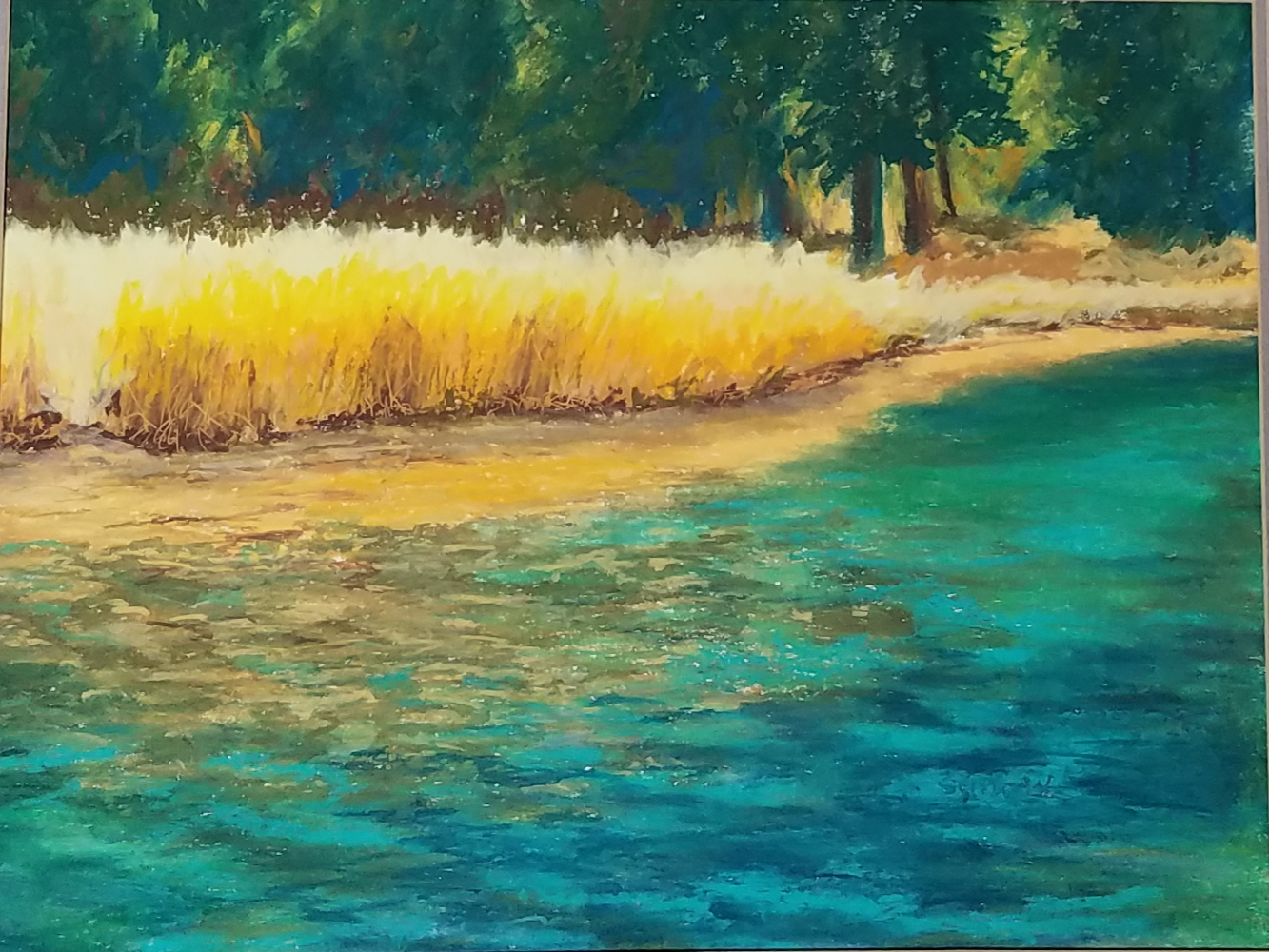 Truckee River from the bike path near Tahoe City                               Oil Pastel, 12 x 16 inches