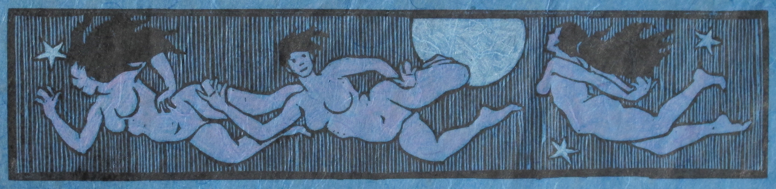 """""""Milky Way: The Nymphs Learn to Fly"""" Hand-Colored Edition of 20. Linoleum cut on Unryu paper. 3 x 13 inches. $120 each."""