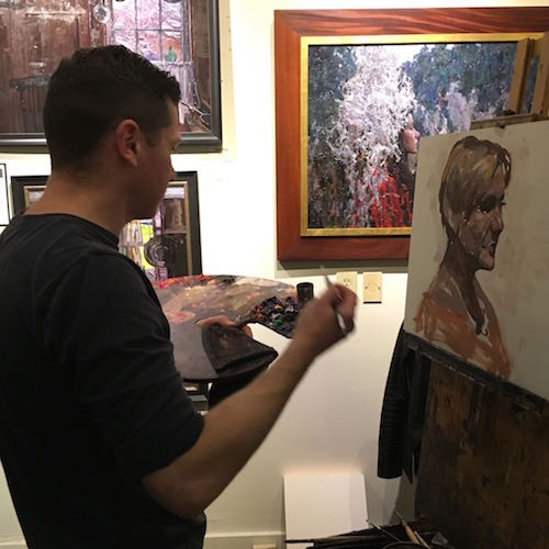 Artist Timur Akhriev, my son, painting live at the Beverly McNeil Gallery yesterday.