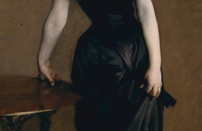 Madame X , John Singer Sargent, oil on linen, 1844.  The hands that sent me to art school. See them at the Metropolitan Museum, NYC