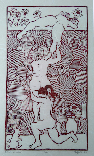 Sisters in Crime / Linoleum print on Japanese or Nepales papers/ 12 x 7 in. / $150 unframed