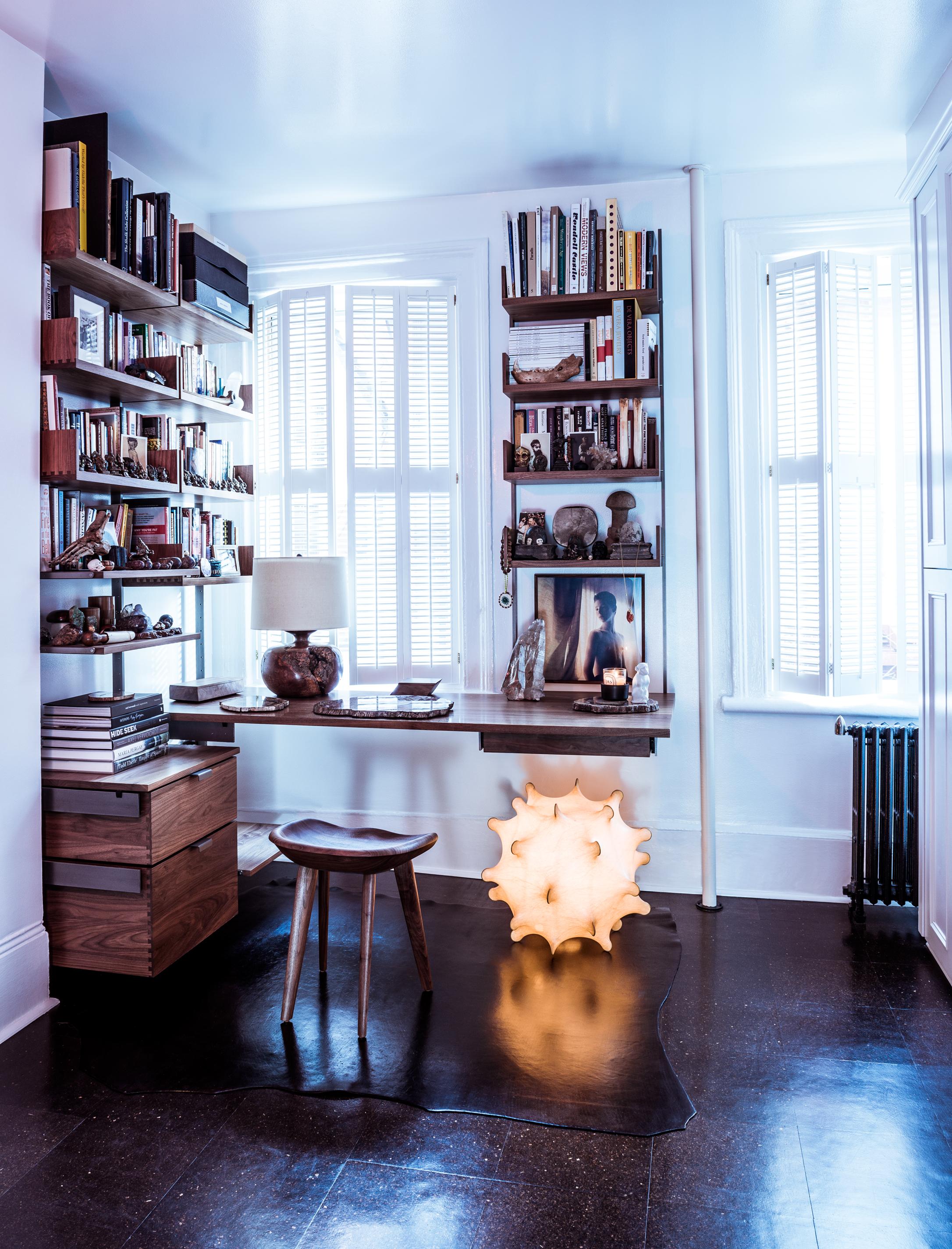 Solid walnut & cold-rolled steel corner desk configuration. Photograph by: François Dischinger