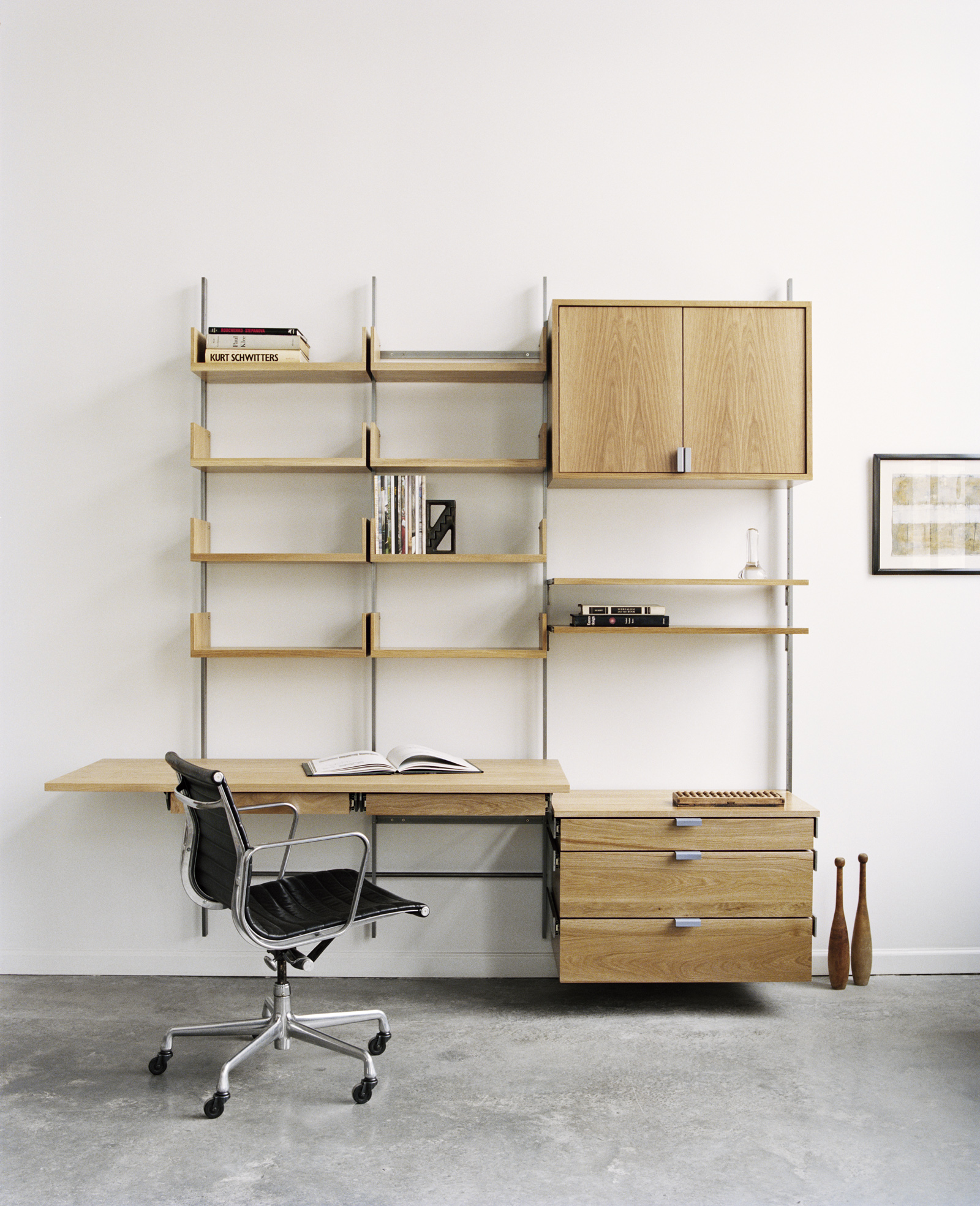 Solid white oak & cold-rolled steel desk configuration. Photograph by: Meredith Heuer