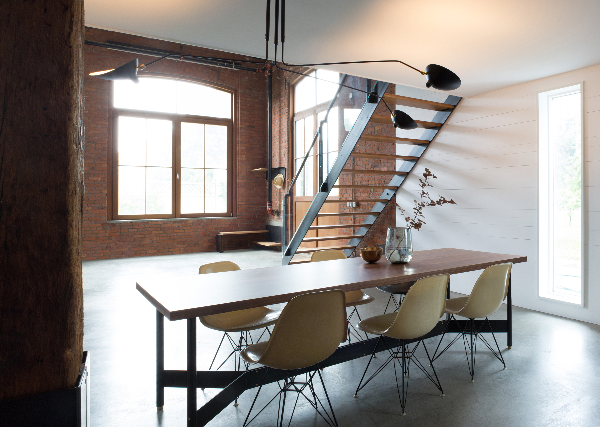 atlas industries interior design services beacon new york loft renovation converted industrial building mezzanine sleeping loft storage guest bedroom steel glass hardwood